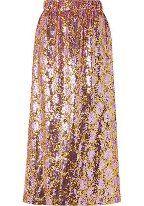 Gucci - Sequined Tulle Midi Skirt - Pink