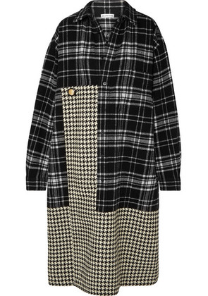 Balenciaga - Oversized Paneled Houndstooth And Checked Wool Midi Dress - Black