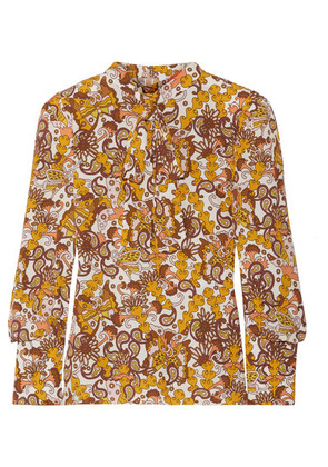 Chloé - Pussy-bow Paisley-print Textured-crepe Top - Yellow
