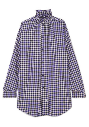 Balenciaga - Oversized Checked Cotton-flannel Shirt - Purple