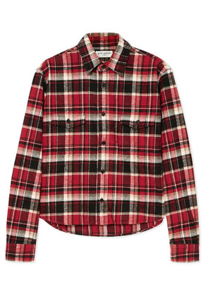 Saint Laurent - Cropped Checked Cotton-flannel Shirt - Red
