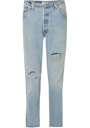 RE/DONE - + Levi's Distressed High-rise Slim-leg Jeans - Light blue