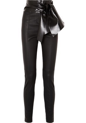 Valentino - Bow-embellished Stretch-leather Skinny Pants - Black