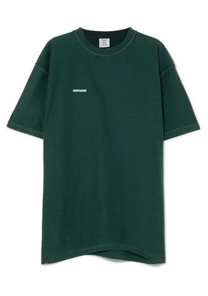 Vetements - Oversized Embroidered Cotton-jersey T-shirt - Dark green