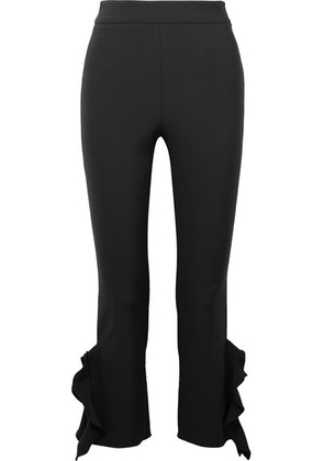 Opening Ceremony - William Cropped Ruffle-trimmed Stretch-cady Skinny Pants - Black
