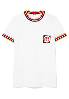 Miu Miu - Appliquéd Striped Cotton-jersey T-shirt - White