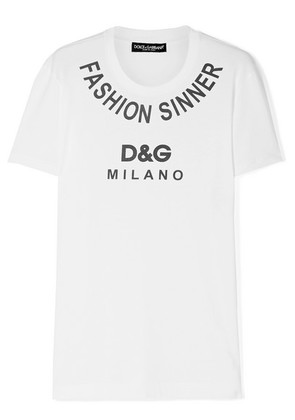 Dolce & Gabbana - Printed Cotton-jersey T-shirt - White