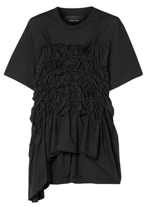 Simone Rocha - Embellished Ruched Cotton-jersey Top - Black