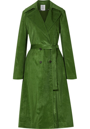 Rosie Assoulin - Piano Pleats Cotton-blend Corduroy Trench Coat - Dark green
