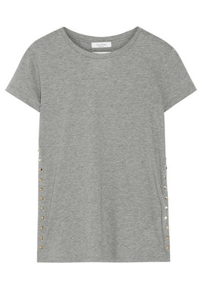 Valentino - The Rockstud Embellished Cotton-jersey T-shirt - Gray