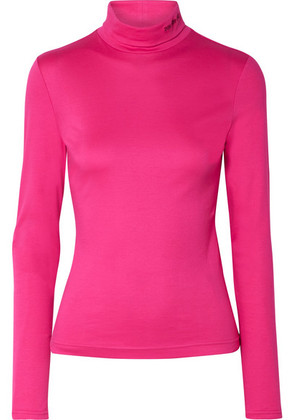 CALVIN KLEIN 205W39NYC - Embroidered Cotton-jersey Turtleneck Top - Magenta