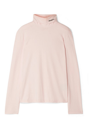 CALVIN KLEIN 205W39NYC - Embroidered Cotton-jersey Turtleneck Top - Pastel pink