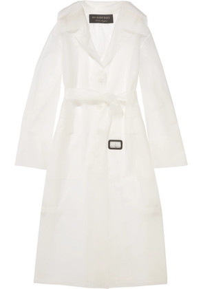 Burberry - Belted Rubberized Pu Trench Coat - White