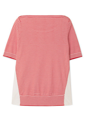 Moncler - Twist Striped Cotton And Satin-shell Top - Red