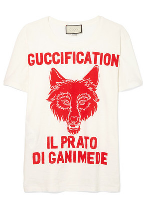 Gucci - Printed Cotton-jersey T-shirt - White