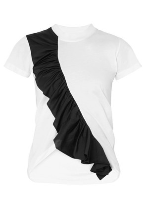 Marques' Almeida - Asymmetric Ruffled Two-tone Cotton-jersey T-shirt - White