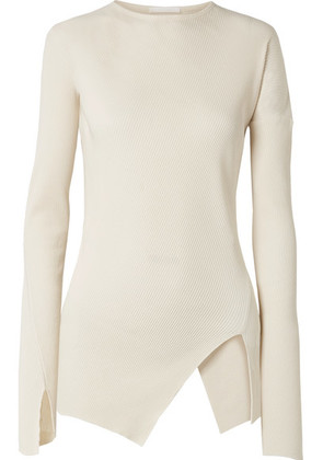 Helmut Lang - Asymmetric Ribbed Cotton Top - Cream