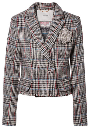 Adam Lippes - Cropped Embellished Harris Tweed Blazer - Gray