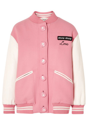 Miu Miu - Oversized Two-tone Leather And Wool Bomber Jacket - Pink