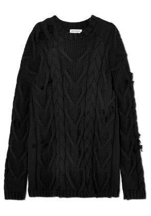 Palm Angels - Distressed Cable-knit Cotton-blend Sweater - Black