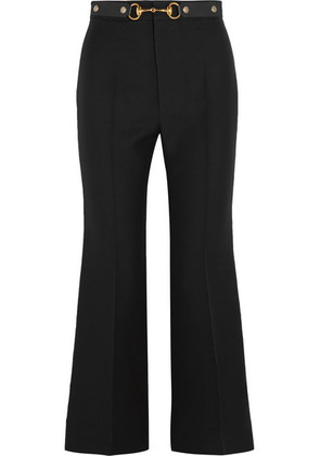 Gucci - Horsebit-detailed Wool And Silk-blend Crepe Wide-leg Pants - Black
