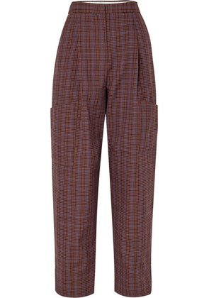 Tibi - Checked Woven Cargo Pants - Brown