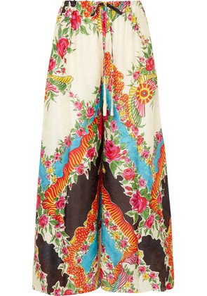 Gucci - Floral-print Satin-jacquard Wide-leg Pants - Black