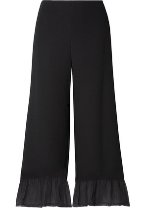 See By Chloé - Silk Chiffon-trimmed Crepe Wide-leg Pants - Black