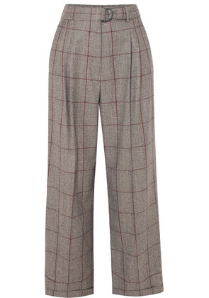 Brunello Cucinelli - Prince Of Wales Checked Wool Pants - Brown