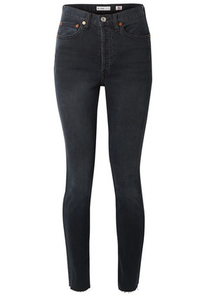 RE/DONE - Originals High-rise Ankle Crop Frayed Skinny Jeans - Black