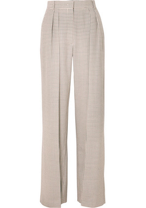 Fendi - Pleated Checked Wool Wide-leg Pants - Beige