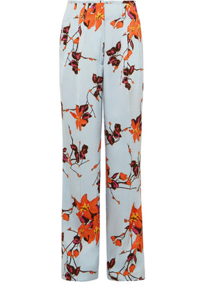Etro - Floral-print Satin Wide-leg Pants - Orange