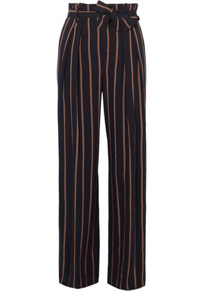 Vince - Belted Striped Crepe Wide-leg Pants - Navy