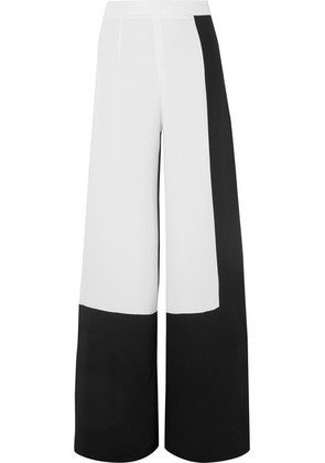 Cushnie - Two-tone Silk-crepe Wide-leg Pants - Black