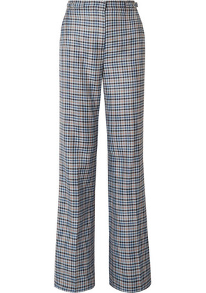 Gabriela Hearst - Vesta Checked Silk And Wool-blend Wide-leg Pants - Navy