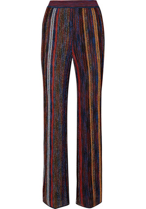 Missoni - Striped Metallic Crochet-knit Wide-leg Pants - Red