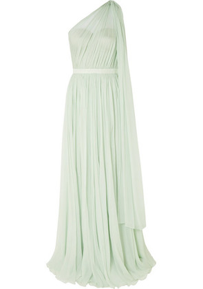 Alexander McQueen - One-shoulder Crinkled Silk-chiffon And Satin Gown - Mint