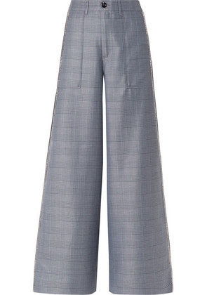 GANNI - Merkel Crystal-embellished Checked Silk-blend Wide-leg Pants - Blue