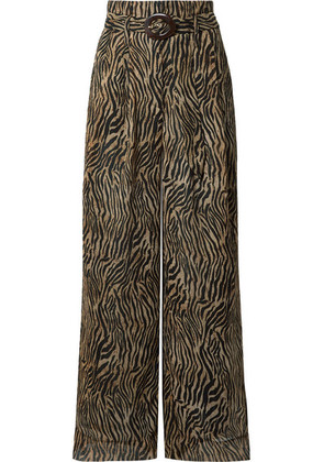 Nanushka - Nevada Printed Cotton-crepon Wide-leg Pants - Brown