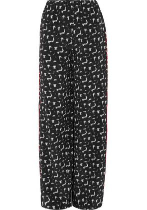 Marni - Gothica Printed Silk Crepe De Chine Wide-leg Pants - Black