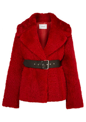Common Leisure - Oversized Belted Shearling Coat - Red
