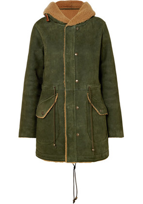 MR & MRS ITALY - Hooded Shearling Coat - Forest green