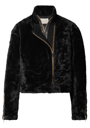Jason Wu GREY - Shave Leather-trimmed Shearling Jacket - Black