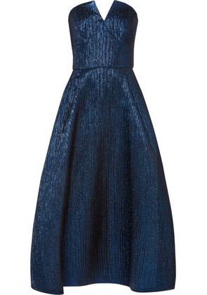 Roland Mouret - Aldrich Strapless Metallic Woven Midi Dress - Blue