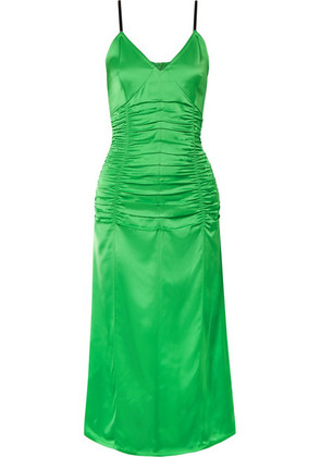 Helmut Lang - Ruched Stretch-satin Midi Dress - Green