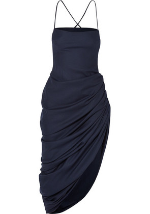 Jacquemus - Saudade Ruched Asymmetric Wool-twill Midi Dress - Navy