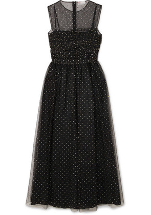 REDValentino - Metallic Polka-dot Point D'esprit Midi Dress - Black