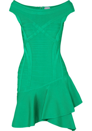 Hervé Léger - Ruffled Bandage Mini Dress - Green