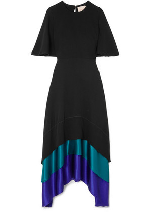 Roksanda - Color-block Tiered Silk Maxi Dress - Black