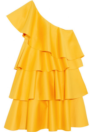 Solace London - One-shoulder Ruffled Crepe Mini Dress - Saffron
